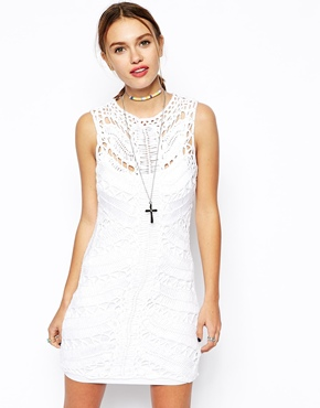 dress with lace yoke