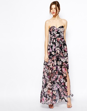 Bandeau maxi floral dress