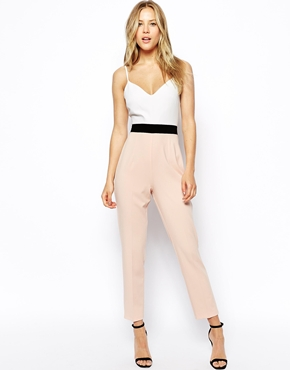 contrast blocking jumpsuit