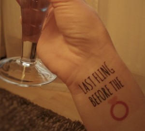 Last fling before the ring temporary hen party tattoo